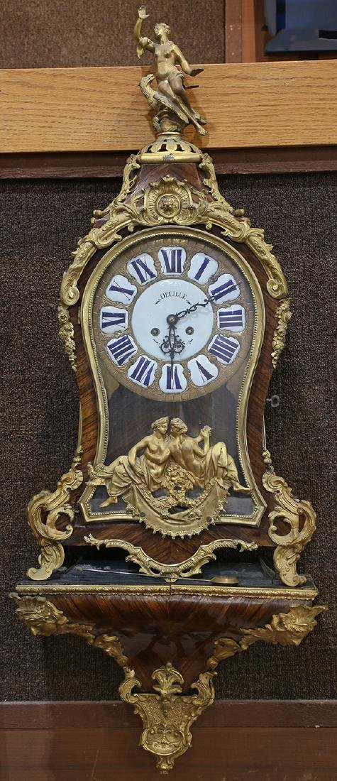 Louis XV style bronze mounted mantle clock, marked