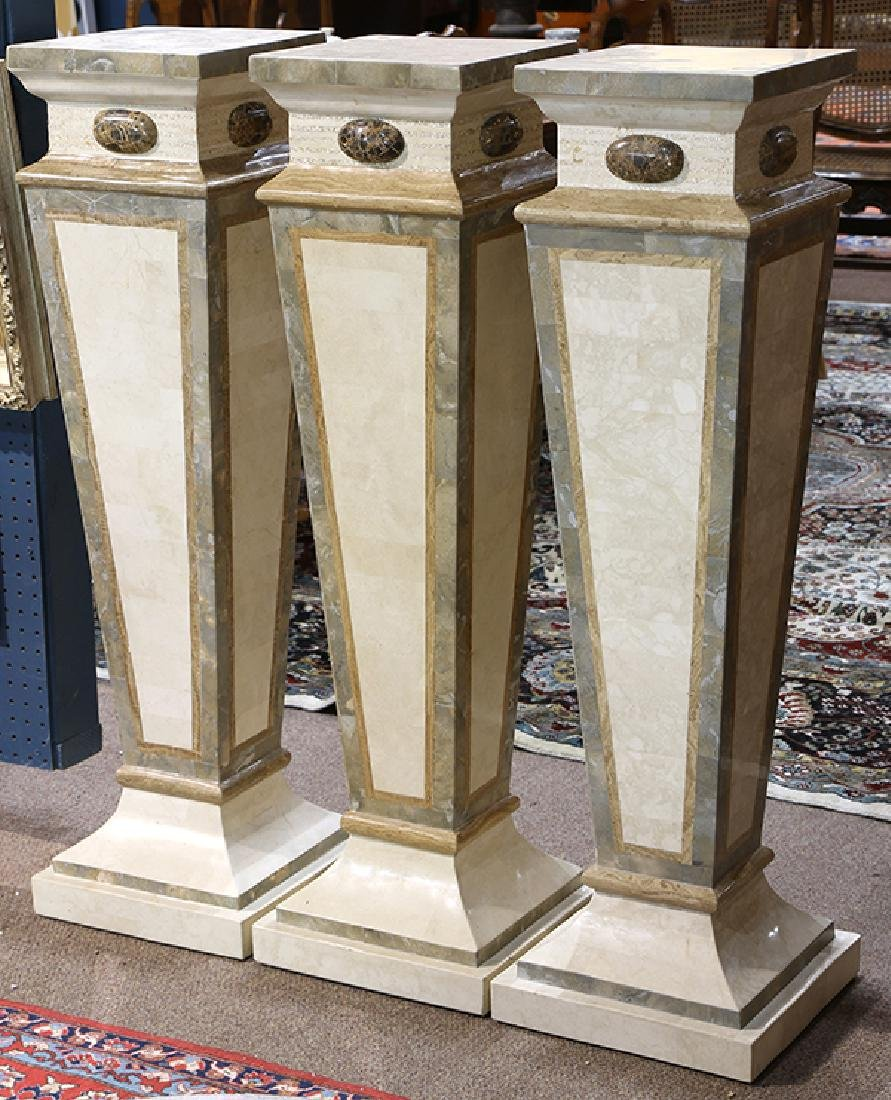 (lot of 3) Classical style faux marble pedestals