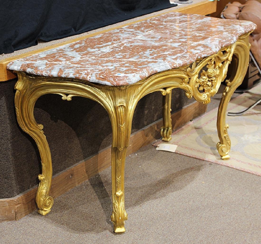 Italian Rococo style gilt wood console table - 3