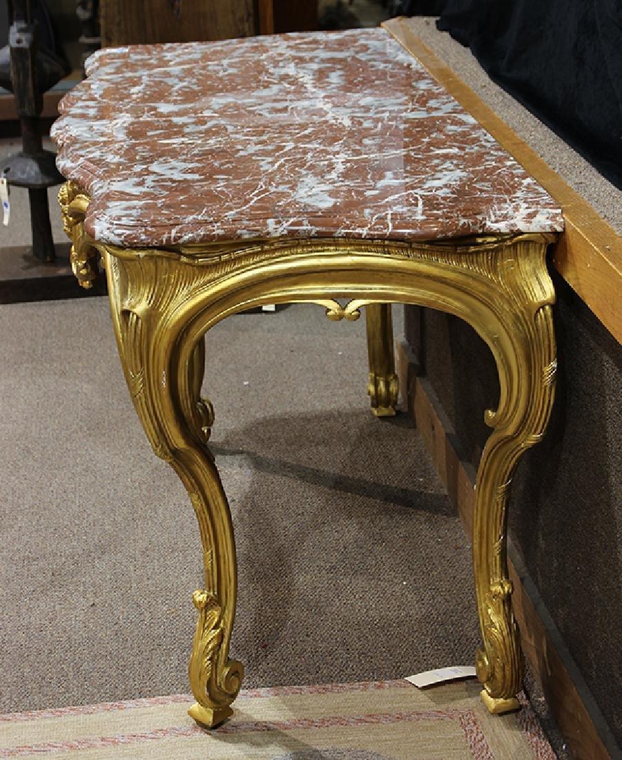 Italian Rococo style gilt wood console table - 4