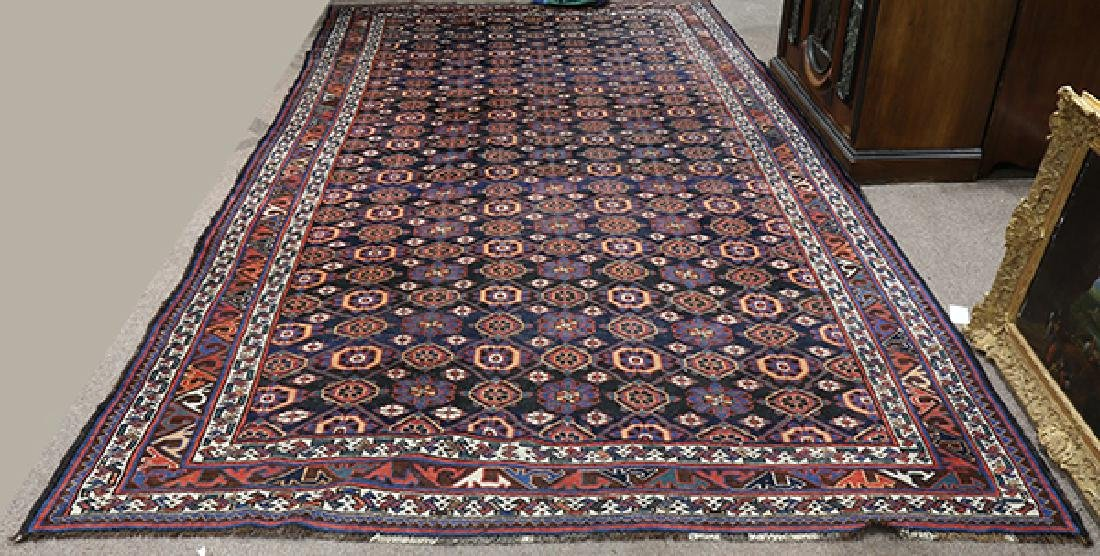 "Antique Afghan Turkoman carpet, 12'6"" x 7'3"""