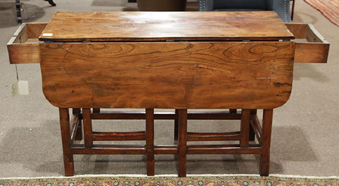 Continental elmwood drop leaf gateleg table - 2