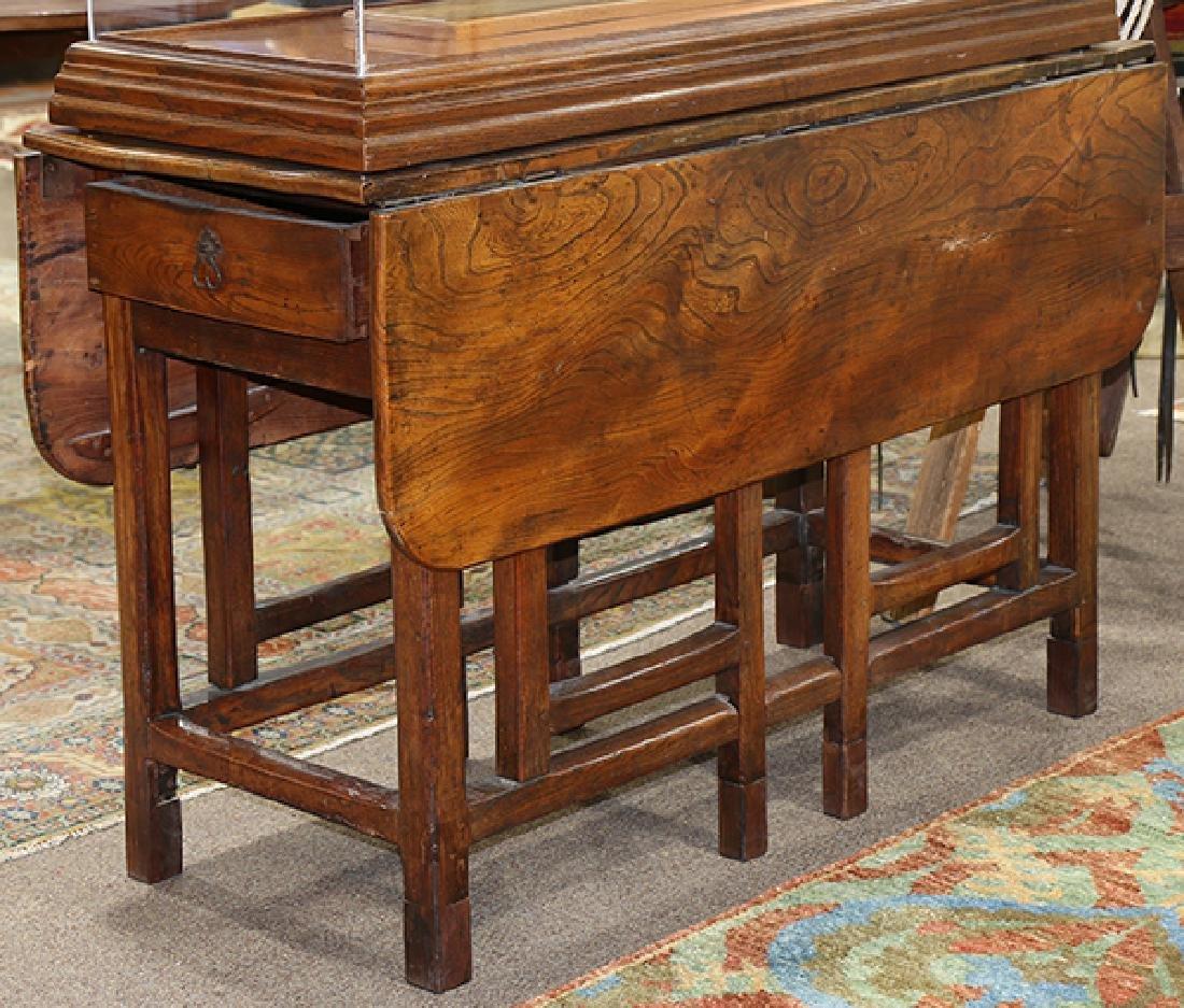 Continental elmwood drop leaf gateleg table - 5