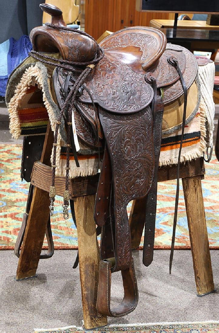 Billy Cook tooled leather Western show saddle