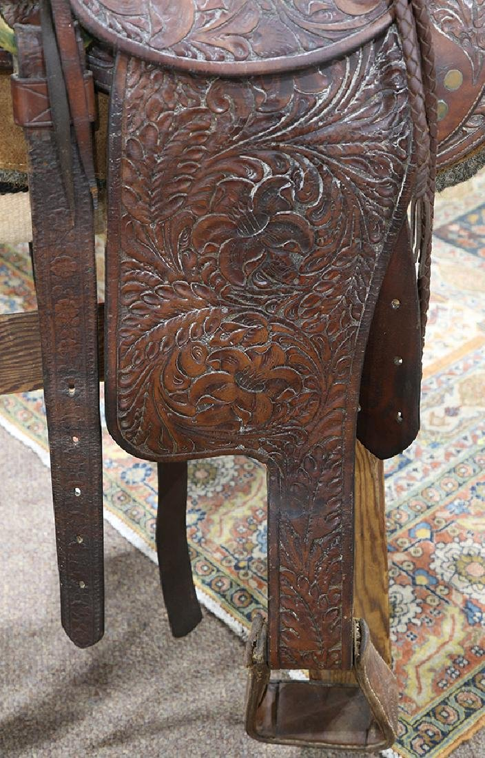Billy Cook tooled leather Western show saddle - 4