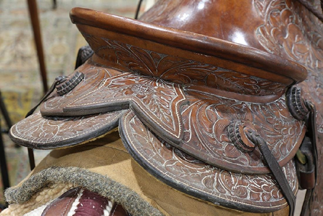 Billy Cook tooled leather Western show saddle - 5