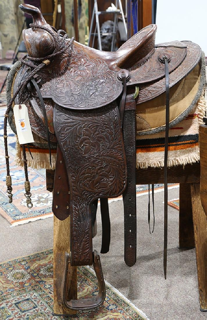 Billy Cook tooled leather Western show saddle - 6