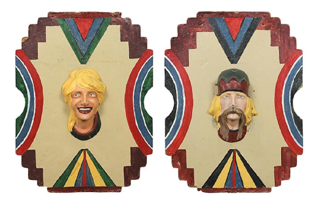 (lot of 2) Allan Herschell carousel panels, each having