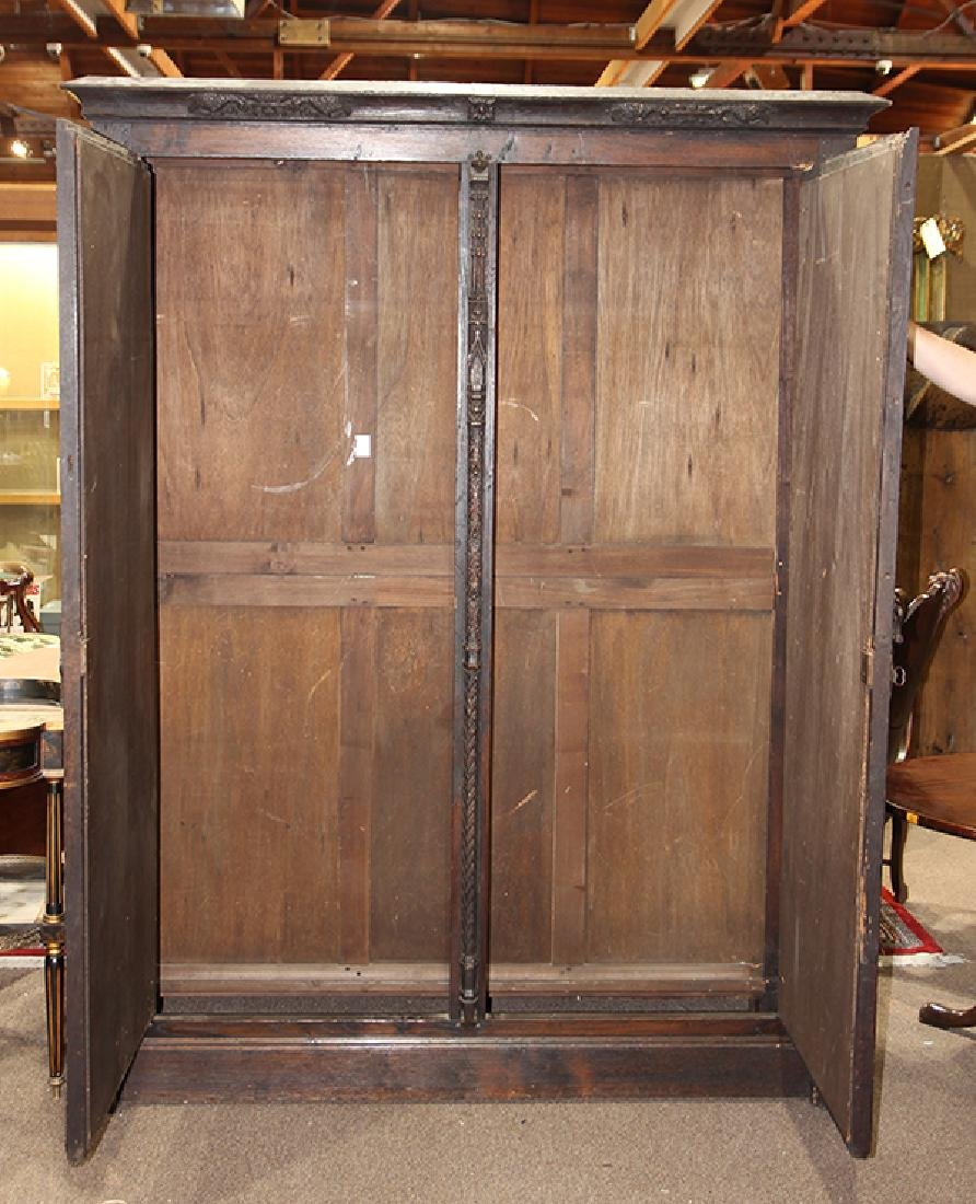 Continental Gothic oak linen press circa 1860, possibly - 2
