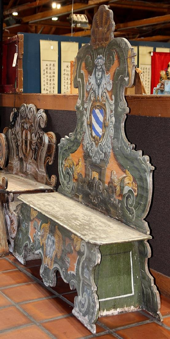 Continental polychrome decorated hall bench first half - 2
