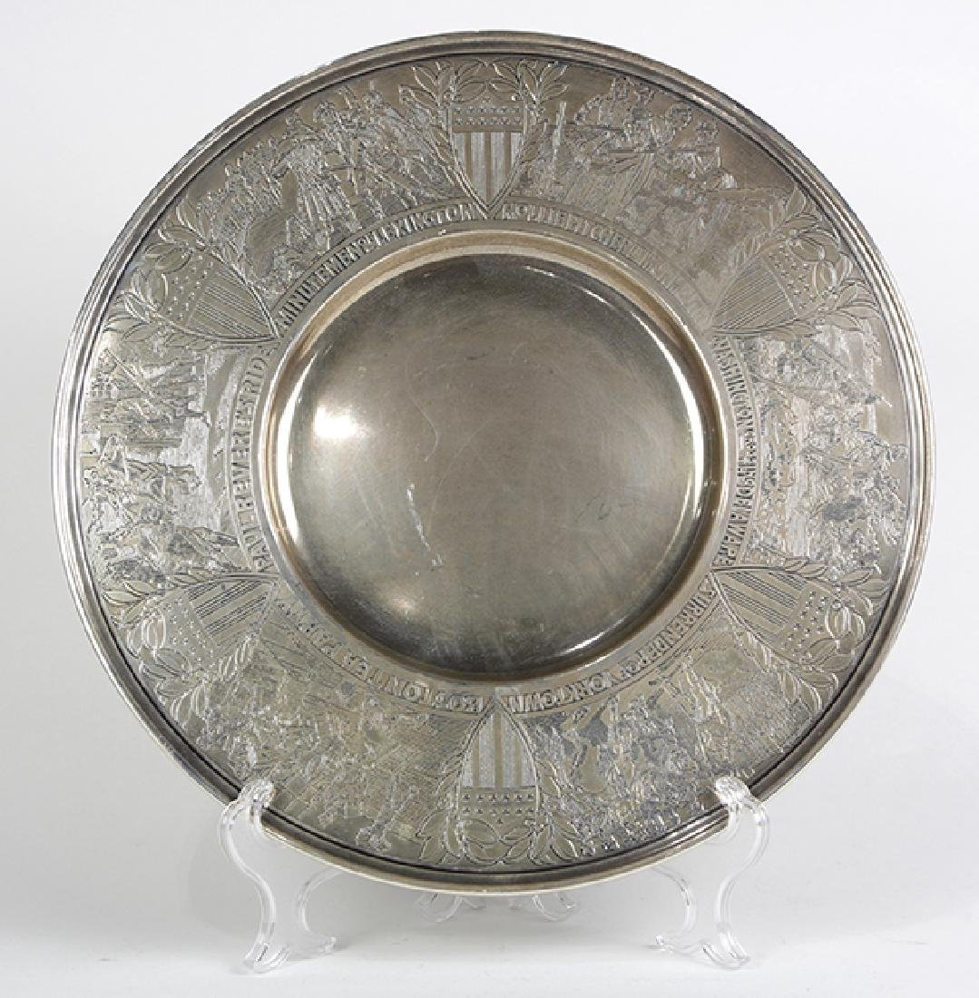 Gorham sterling silver Bicentennial charger, having