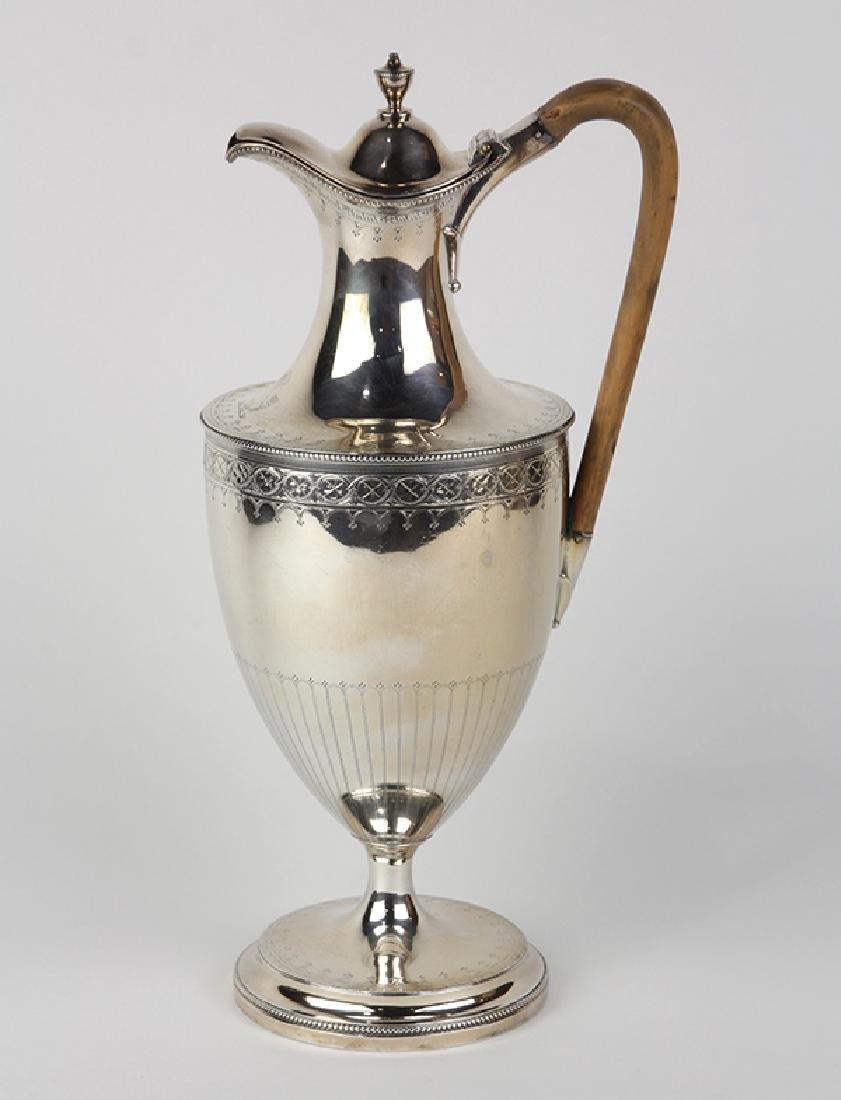 George III sterling silver jug, London 1785, Hester