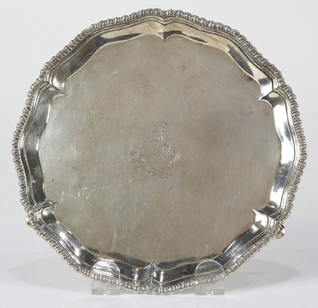 English George III sterling silver salver, London 1769,