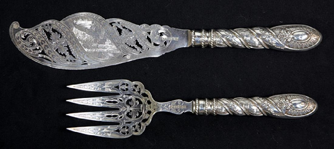 (lot of 2) Victorian silver fish set