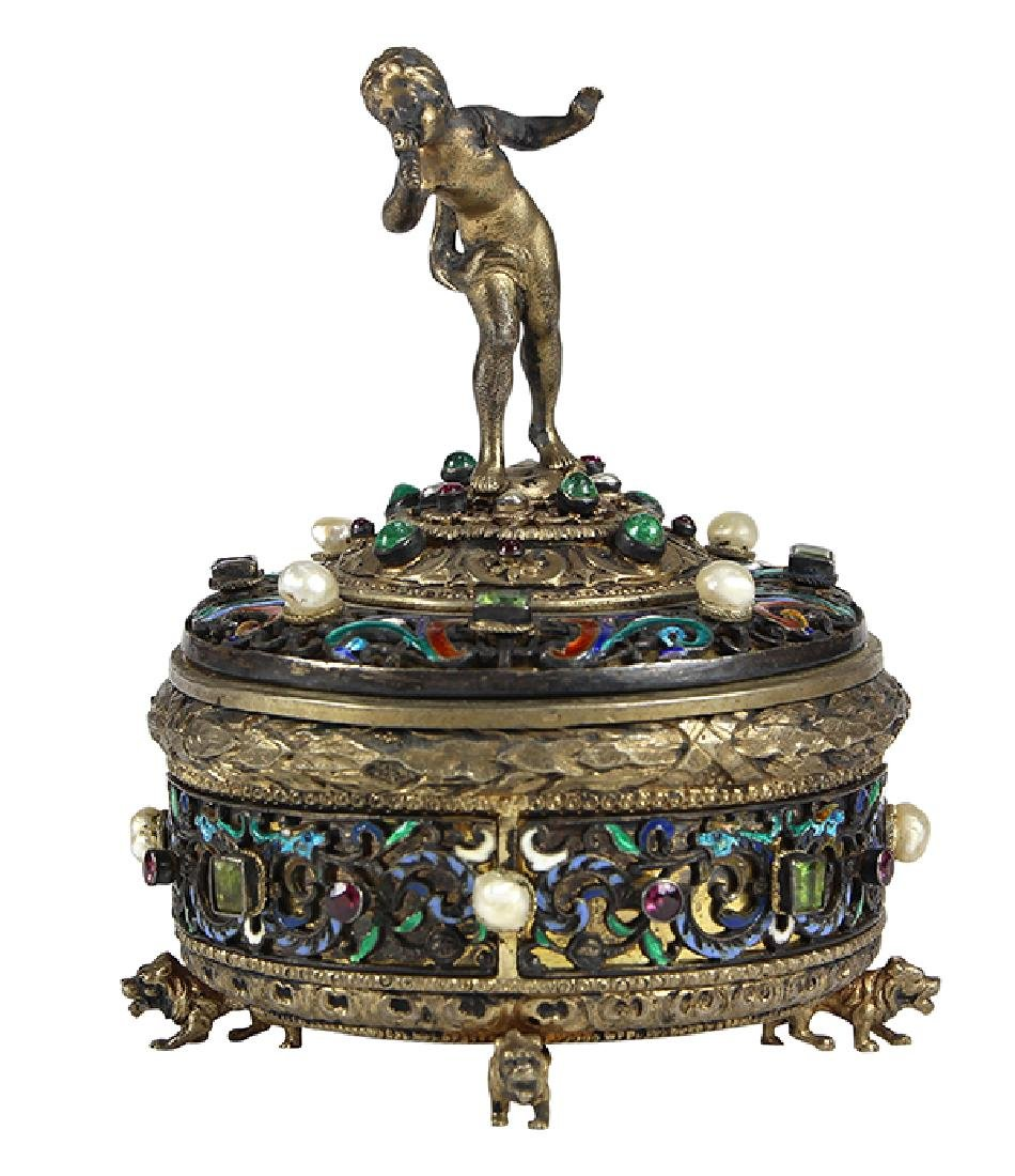 Austrian sterling silver and gilt wash lidded trinket