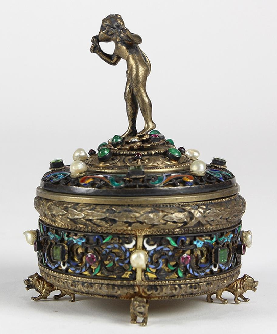 Austrian sterling silver and gilt wash lidded trinket - 2