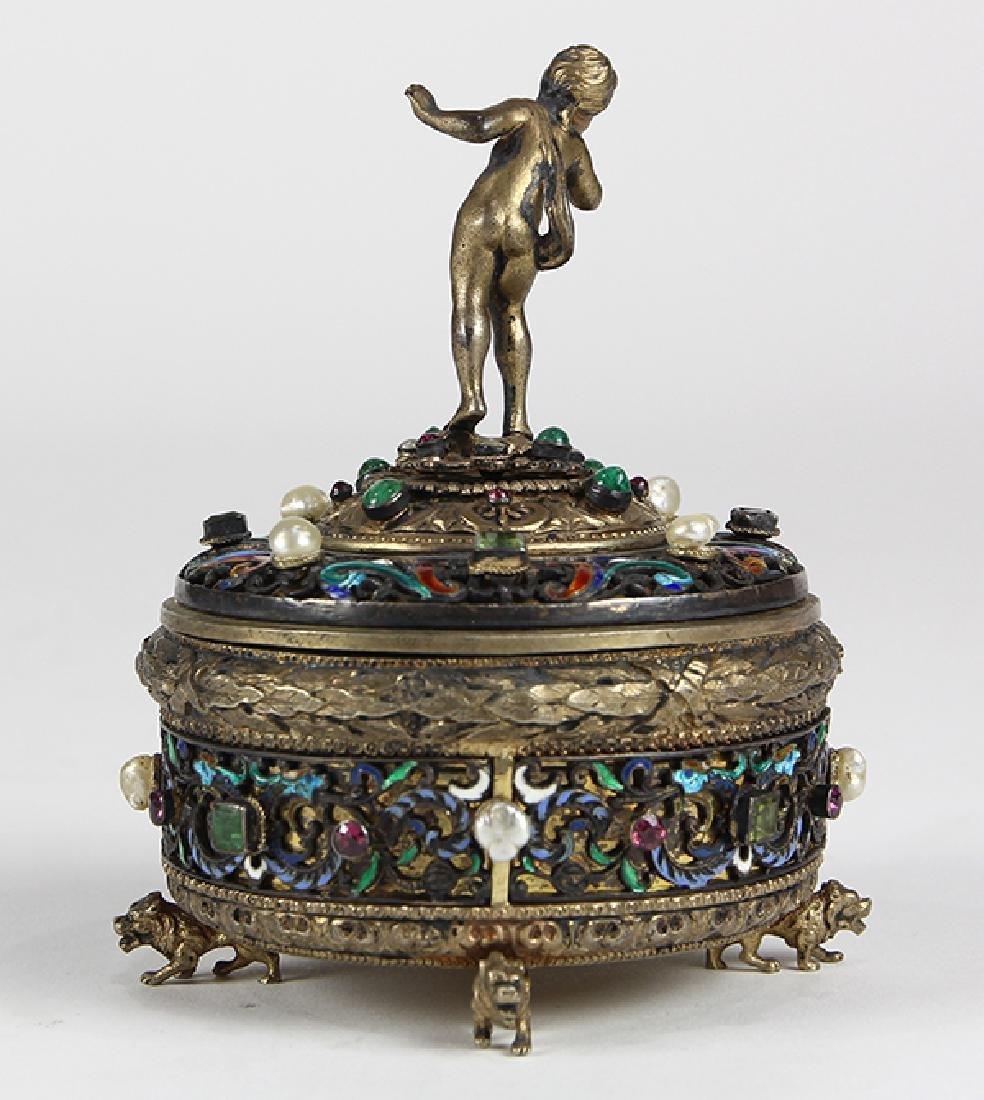 Austrian sterling silver and gilt wash lidded trinket - 3