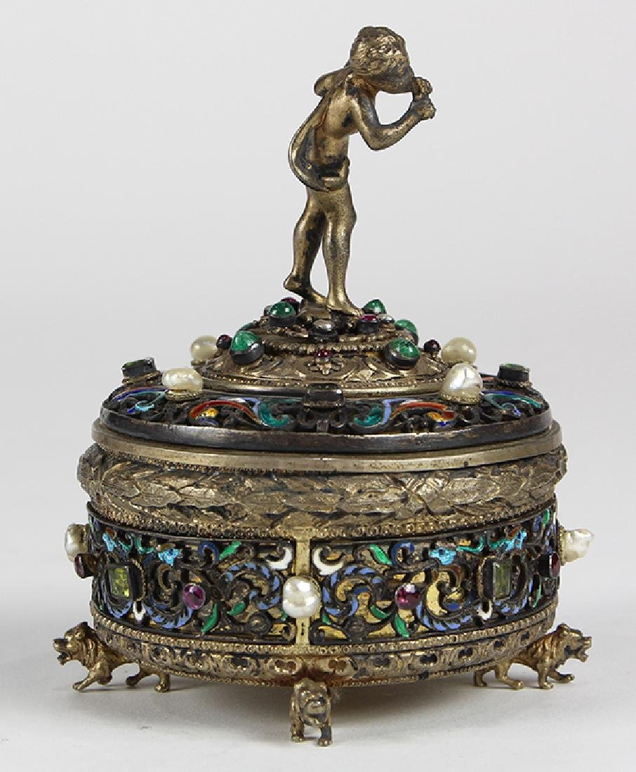 Austrian sterling silver and gilt wash lidded trinket - 4