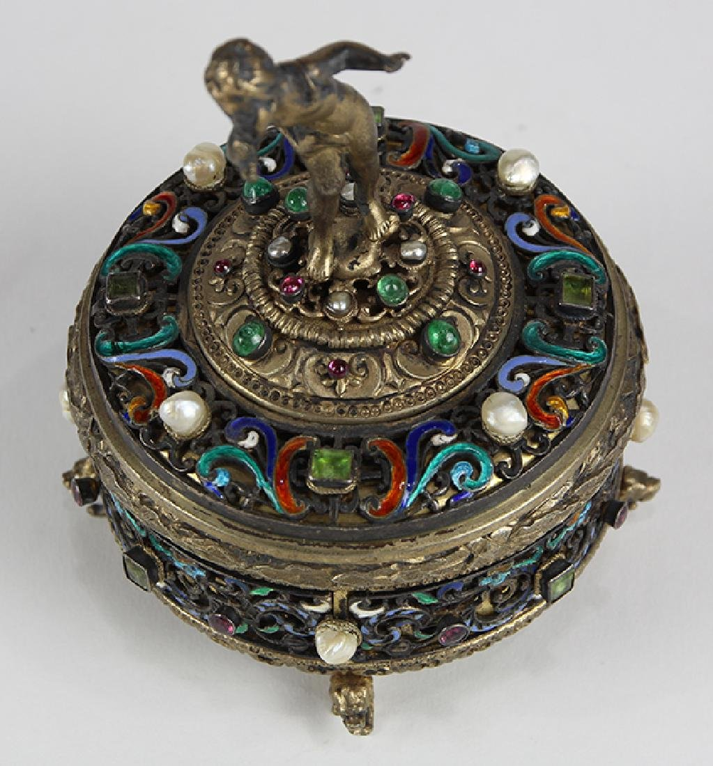 Austrian sterling silver and gilt wash lidded trinket - 5