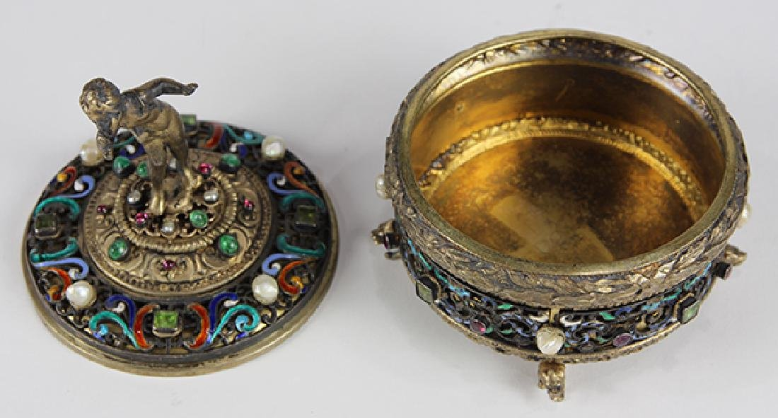 Austrian sterling silver and gilt wash lidded trinket - 6