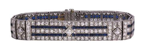 Art Deco Tiffany  Co diamond synthetic sapphire