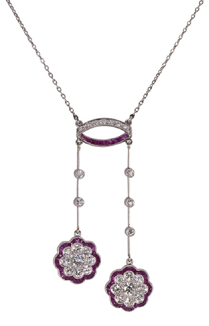 Diamond, ruby and platinum lavaliere necklace