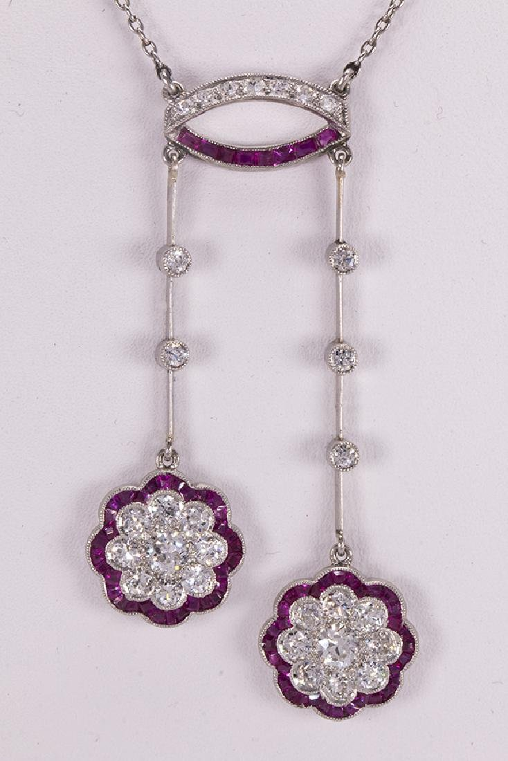 Diamond, ruby and platinum lavaliere necklace - 2