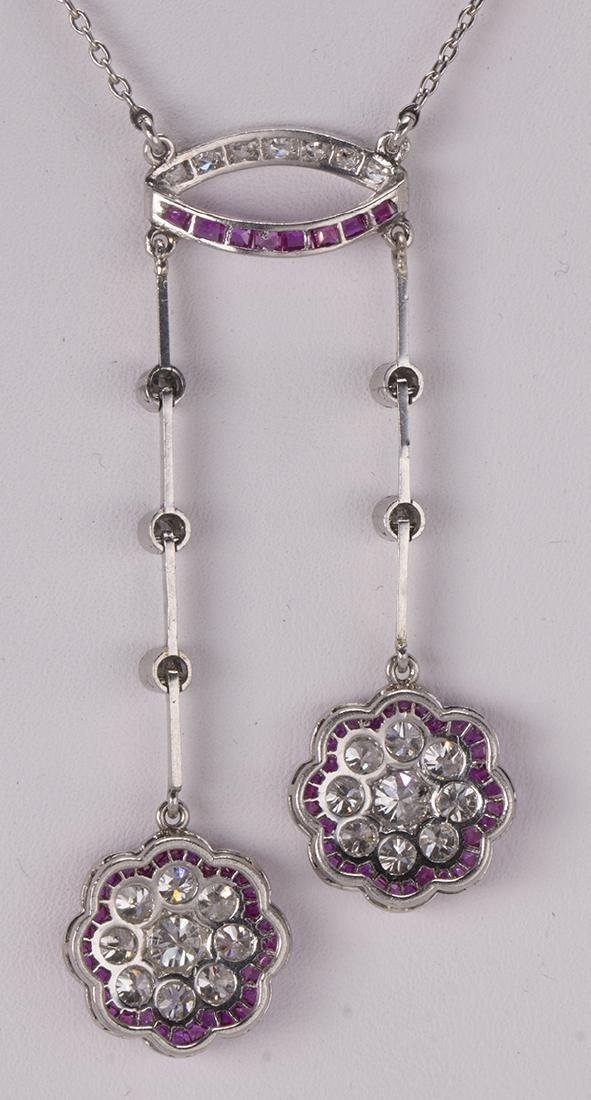 Diamond, ruby and platinum lavaliere necklace - 3