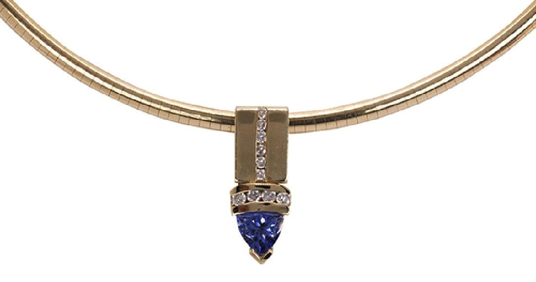 Tanzanite, diamond and 14k yellow gold necklace