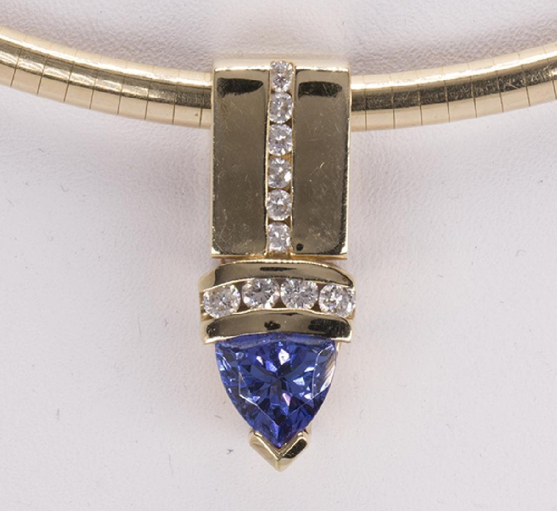 Tanzanite, diamond and 14k yellow gold necklace - 3