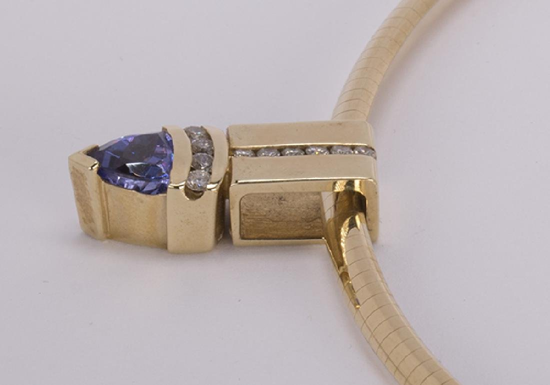 Tanzanite, diamond and 14k yellow gold necklace - 4