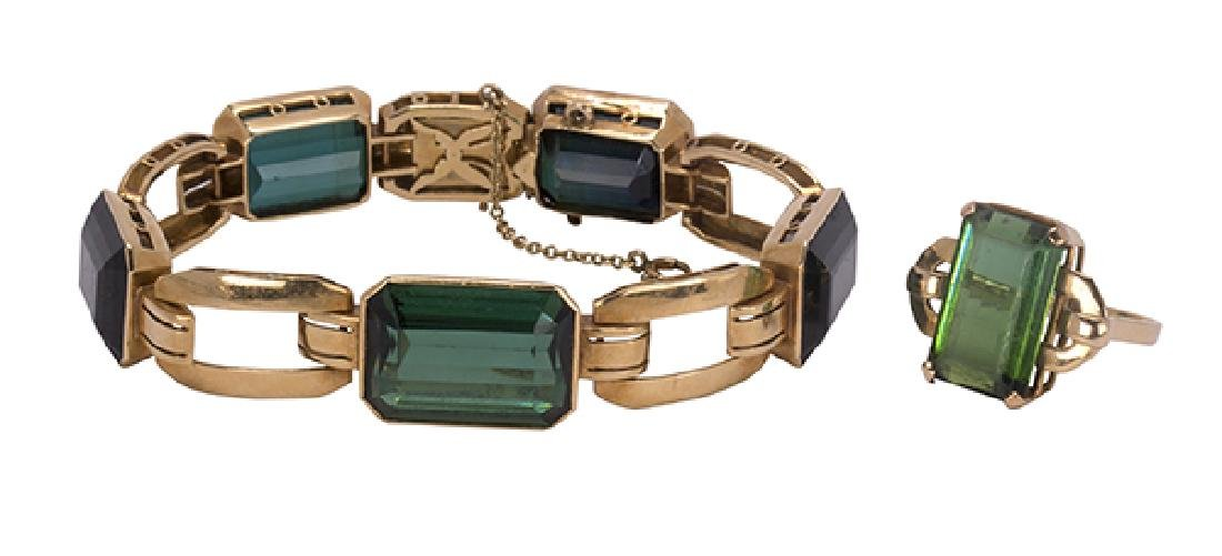 Tourmaline and 18k yellow gold jewelry suite