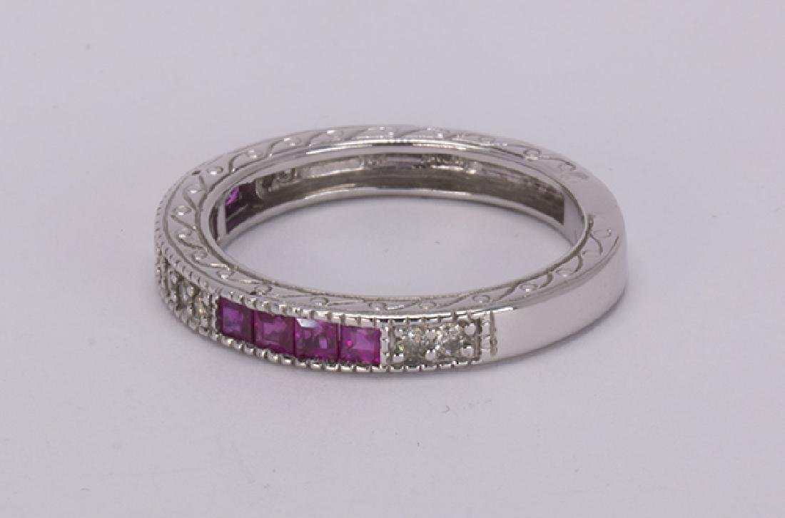 Ruby, diamond and 14k white gold ring - 3