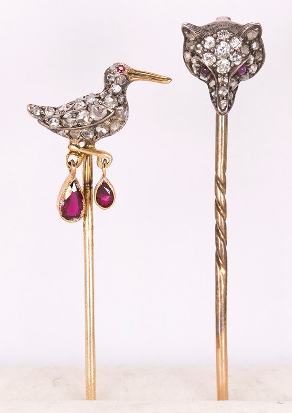 (Lot of 2) Victorian diamond, ruby, silver-topped gold