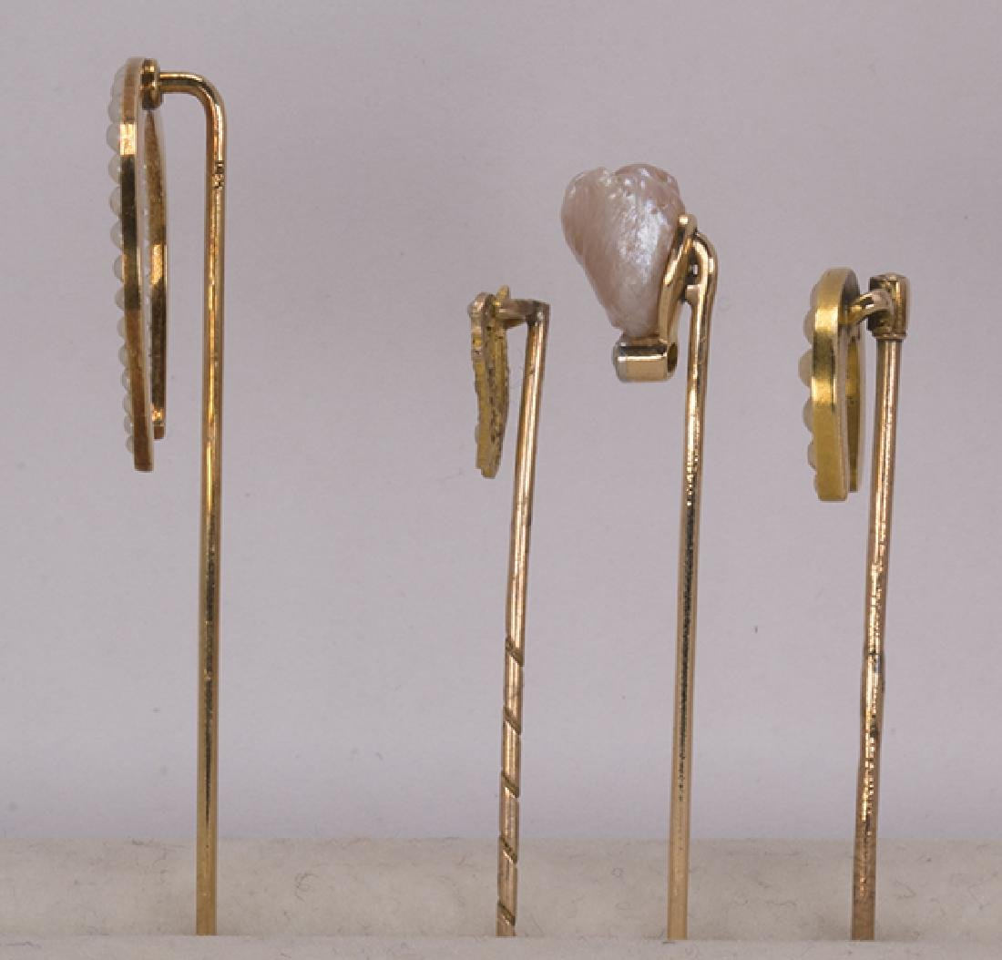 (Lot of 4) Diamond, cultured pearl and gold stickpins - 2