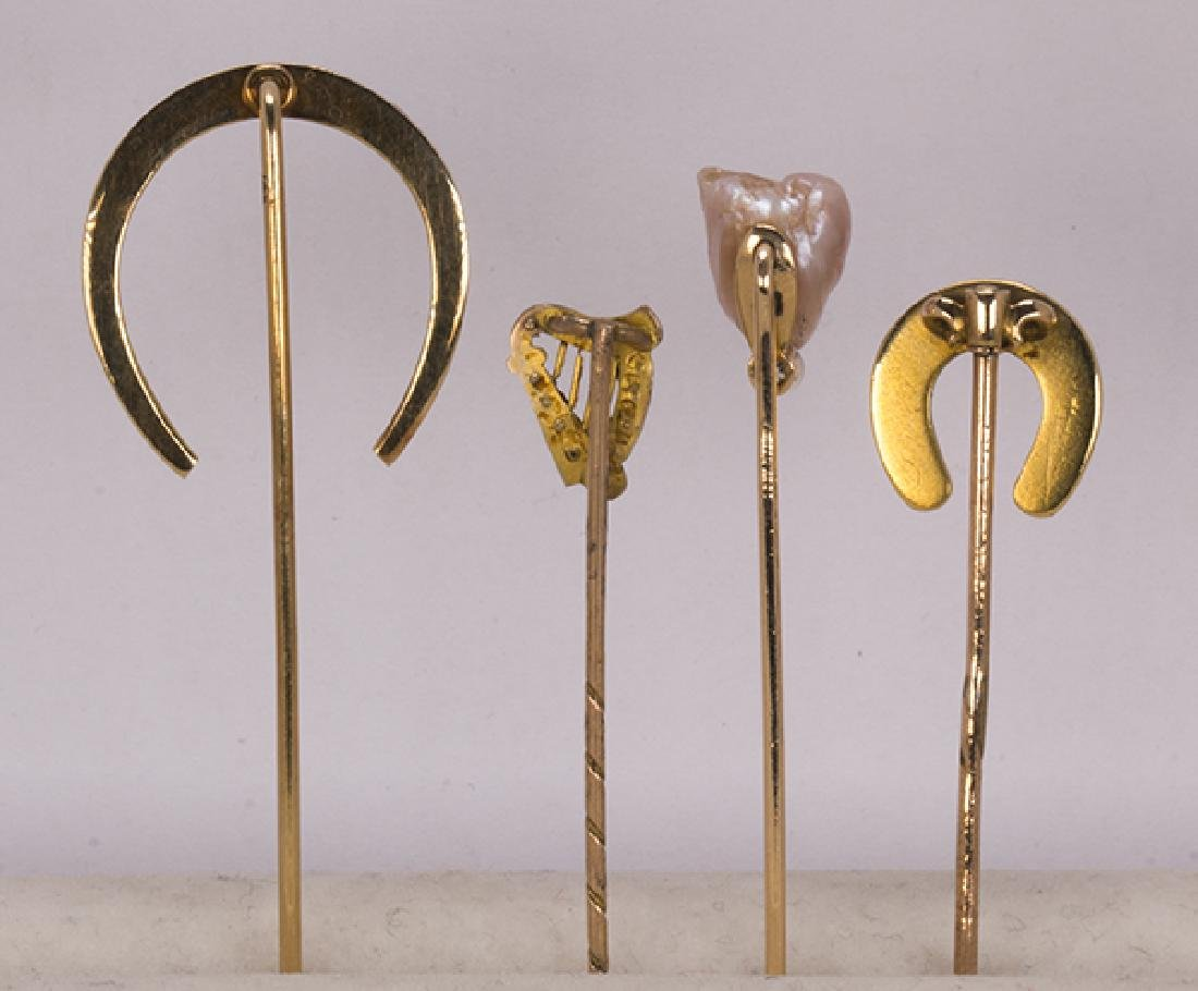 (Lot of 4) Diamond, cultured pearl and gold stickpins - 3