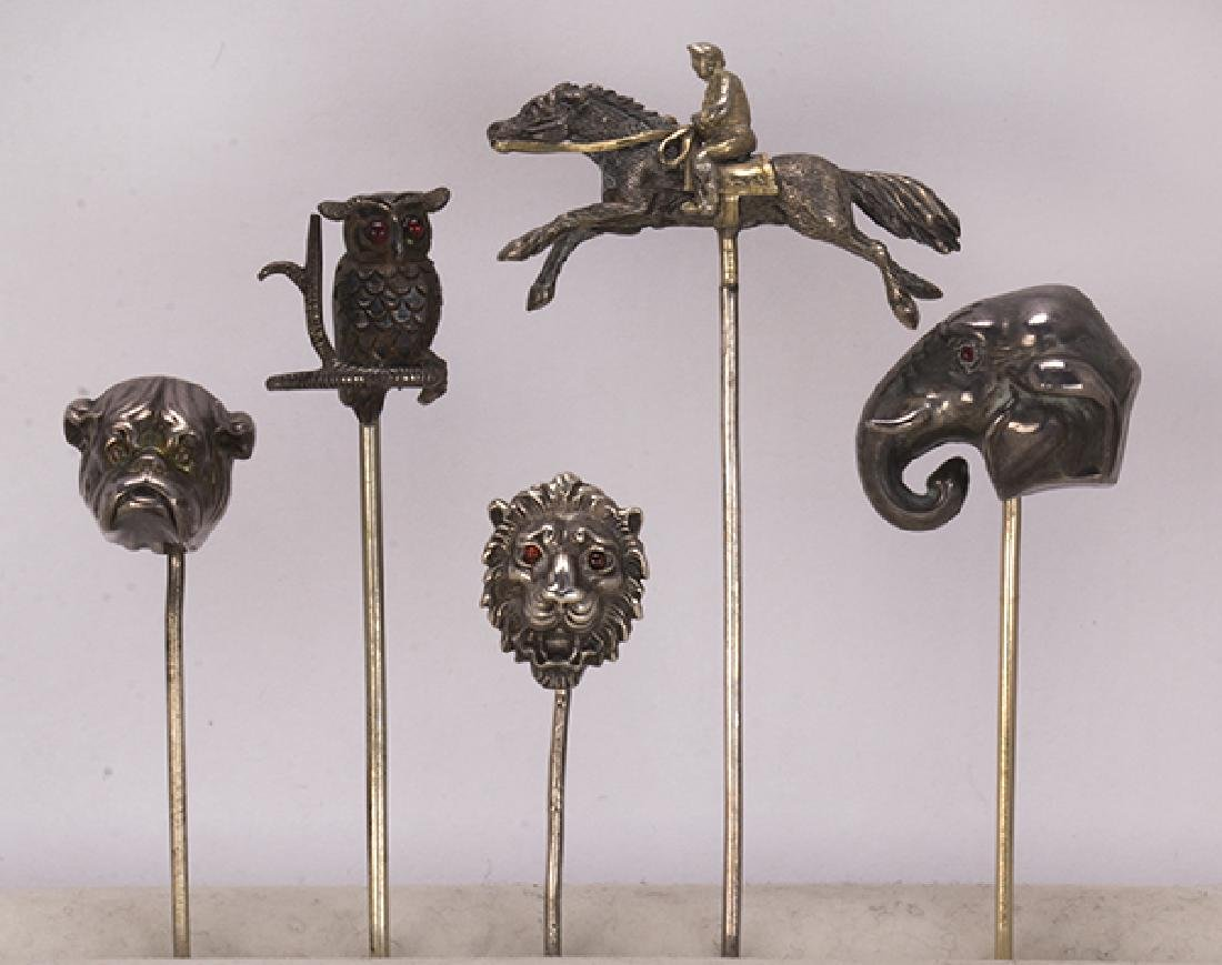 (Lot of 5) Multi-stone and silver animal stickpins