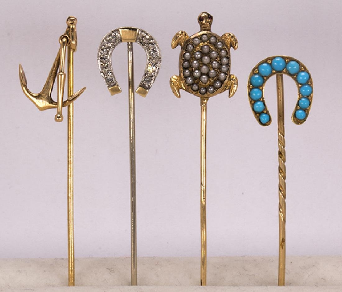 (Lot of 4) Diamond, multi-stone and 14k gold stickpins