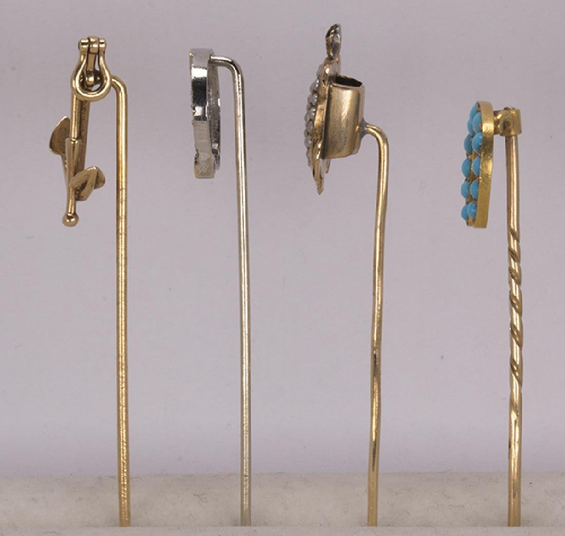 (Lot of 4) Diamond, multi-stone and 14k gold stickpins - 2