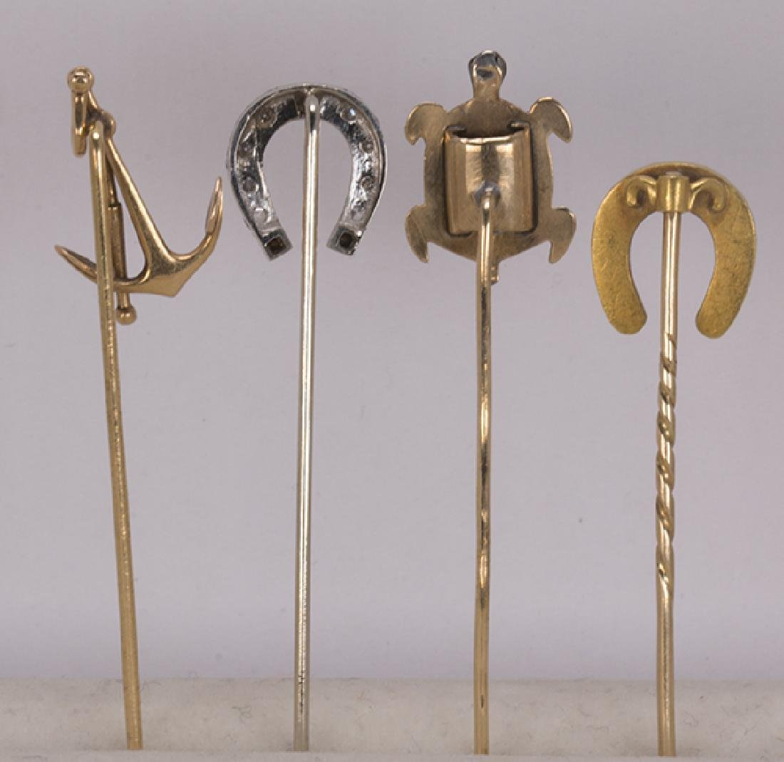 (Lot of 4) Diamond, multi-stone and 14k gold stickpins - 3