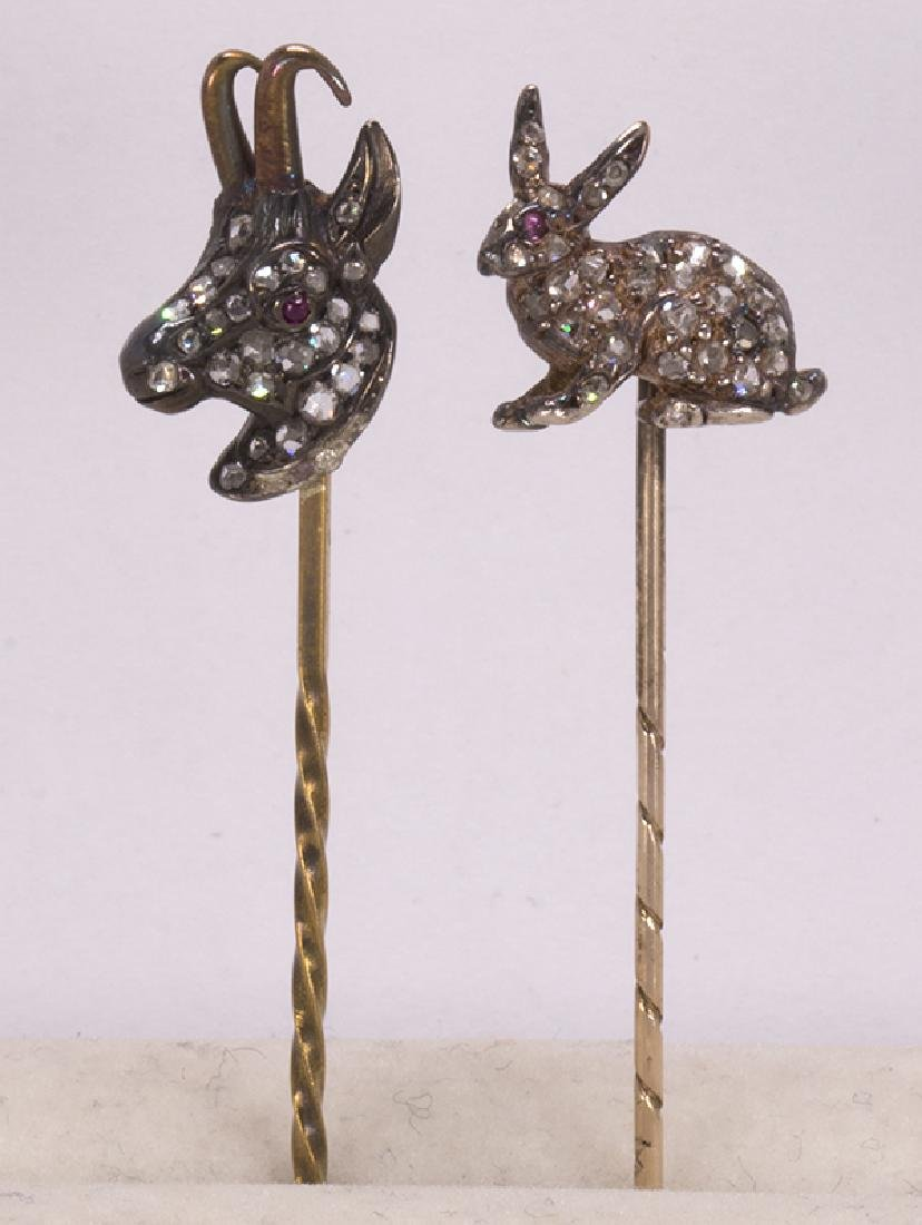 (Lot of 2) Victorian diamond, silver-topped and gold