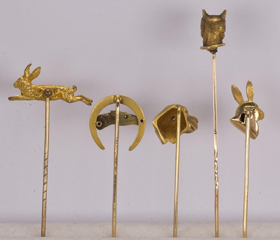 (Lot of 5) Diamond, yellow gold and metal animal - 3