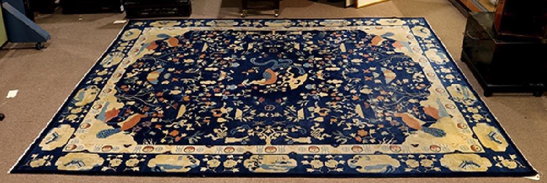 "Antique Peking carpet (wear) circa 1900, 9' x 10'7"""