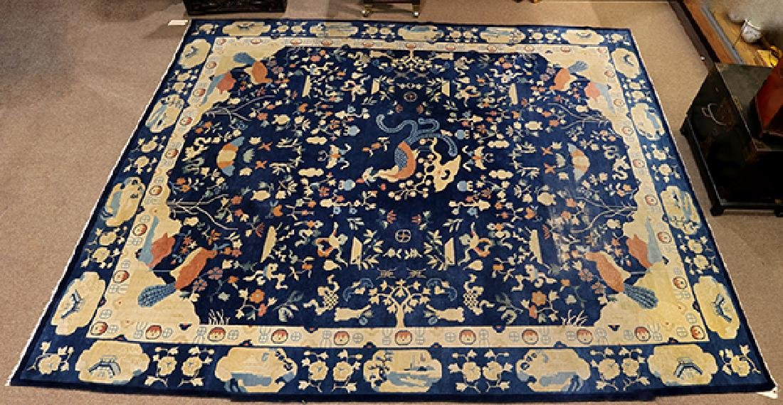 "Antique Peking carpet (wear) circa 1900, 9' x 10'7"" - 2"
