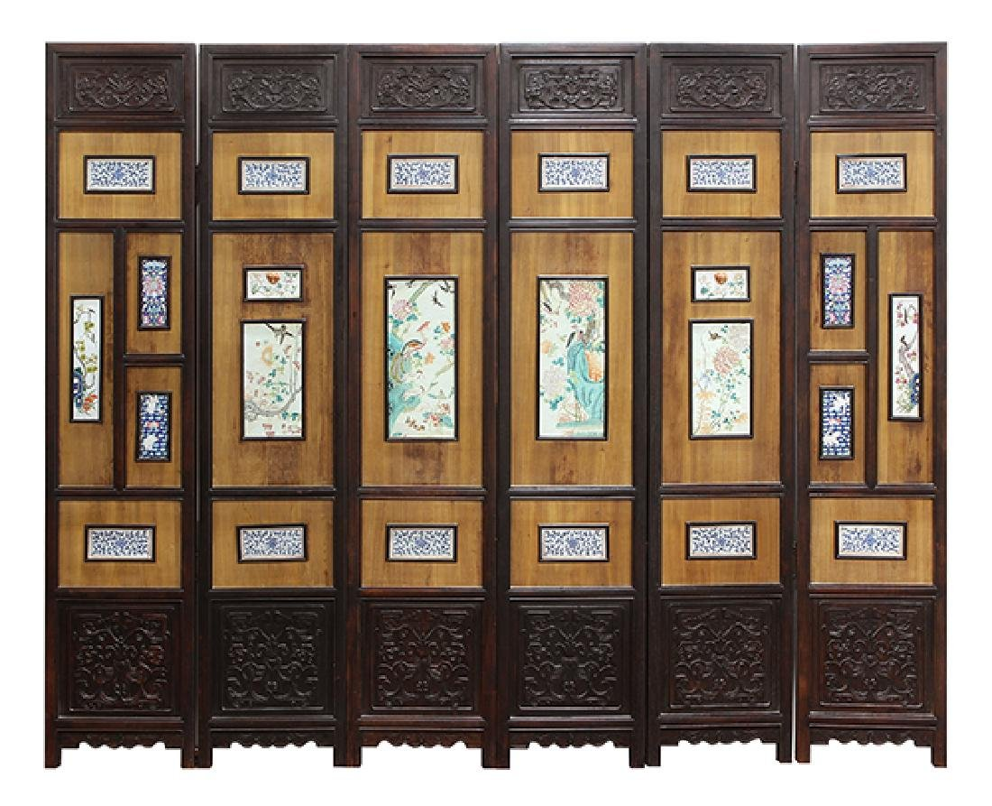 Chinese Six Panel Porcelain Inset Screen