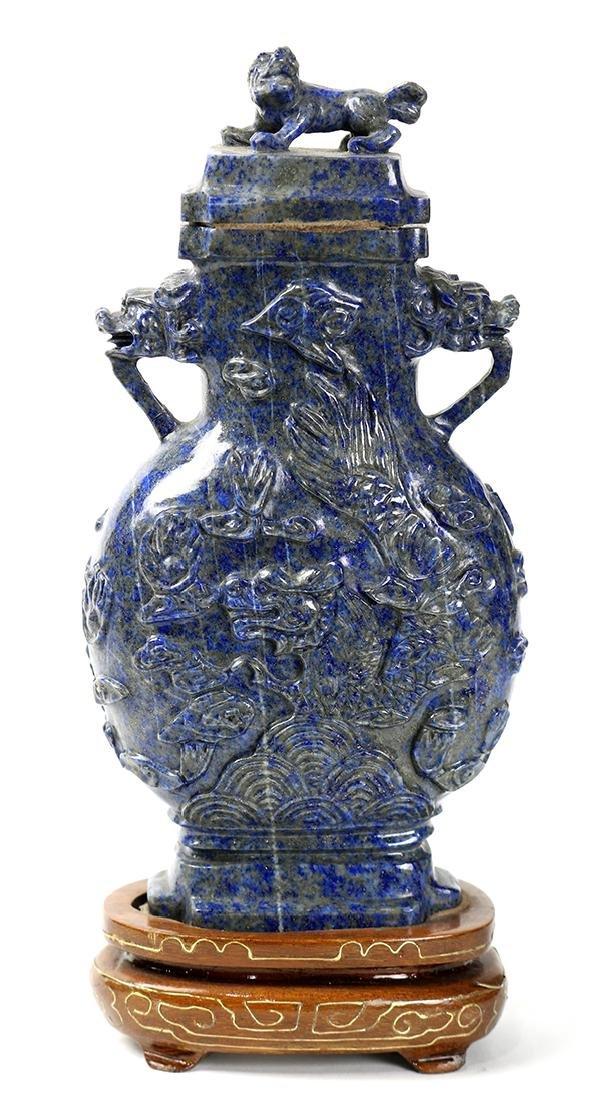 Chinese Lapis Lazuli Covered Urn