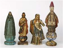 (Lot of 4) Spanish Colonial carved wood Santos figures