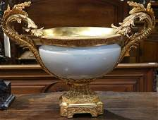 Rococo-style gilt bronze mounted porcelain centerpiece
