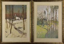 Watercolors, Winter and Spring Landscapes