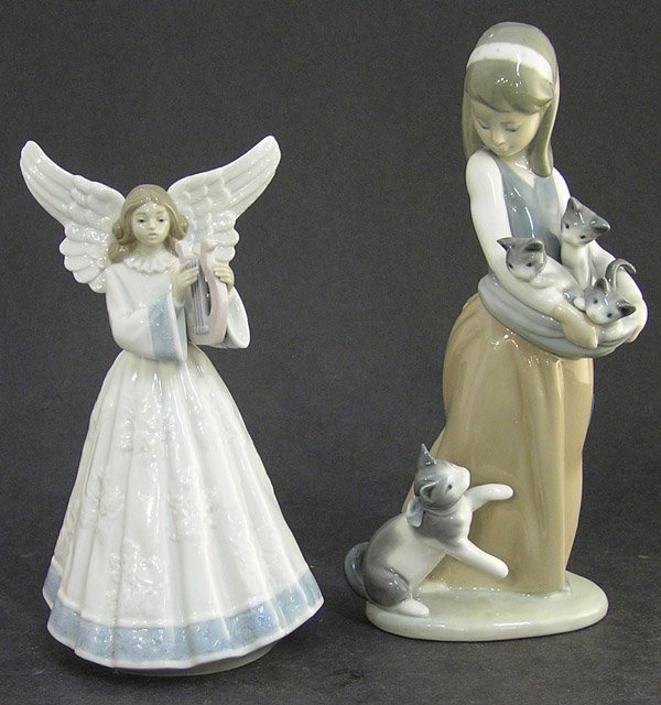 25: Lladro figural kittens and angel